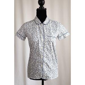 NWT J Crew XXS Pajama Top Blue White Paisley Print